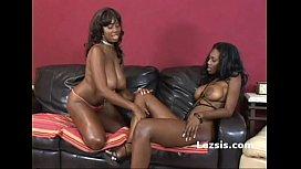 Busty diva french kisses thick ebony ...