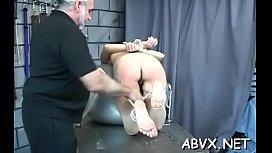 Obedient teen in precious scenes of extreme bondage