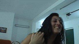 Perky brunette does lapdance...