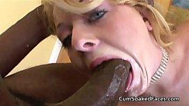 Blue eyed blonde takes...