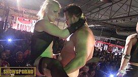Spanish hot pornstars amazing orgy on stage