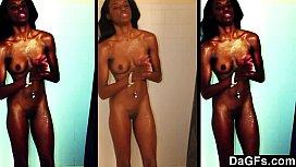 Skinny ebony caught while...