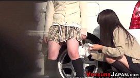 Japanese babe pisses pov...