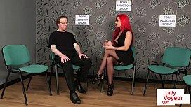 Redheaded british voyeur instructs...