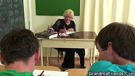 Old mature teacher takes...