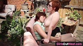 Hairy redheaded lesbians fuck outdoors