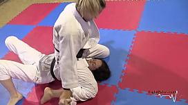 Girls wrestling in kimonos (real pindown match) zb porn