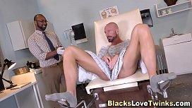 Black doctor spunks hunk...