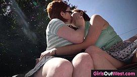 Cute hairy lesbians lick...