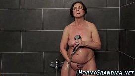 Showering granny facial...
