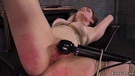 Brunette tied up throat banged training