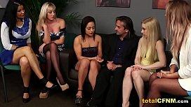 Two horny ladies enjoy blowjob with cumshot