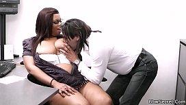 Busty ebony secretary rides...