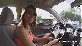 Bigtit teen rides car...