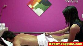 Busty asian tugging masseuse...
