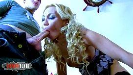 Hot blonde MILF double...