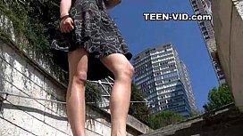 Teen upskirt no panties...