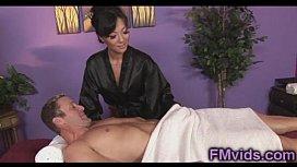 Asian hottie Asa Akira sucking cock after massage