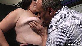 Boss bangs brunette fatty...