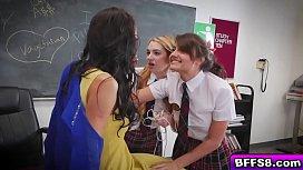 Hot lesbian students lick...