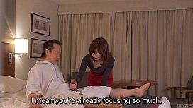 Subtitled CFNM Japanese hotel milf massage leads to handjob woodman casting