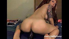 Busty Tattooed Girl Masturbating With Long Dildo On Cam
