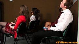 Euro cfnm teens teaching a handjob lesson