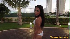 Latina bikini tgirl tugging...