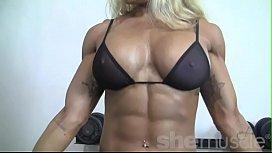 Sexy Blonde Female Bodybuilder...