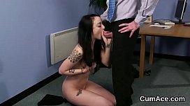Flirty centerfold gets cum...