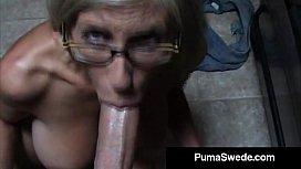 Euro Porn Star Puma Swede Gets Milky Glasses After Blow Job! horsecock futa