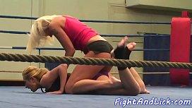 Lesbian babes wrestling naked...
