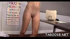 Amazing brunette hair teen enjoys engulfing a huge dick lustfully