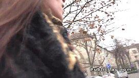 Russian babe flashing panties...