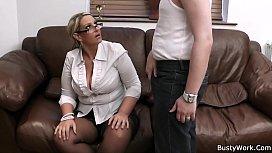 Busty woman in uniform...