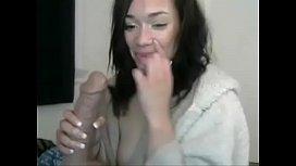 Hot girl suck big dildo on cam