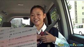 Japanese teen rides dick...