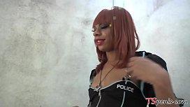 Sasha Strokes the shemale...
