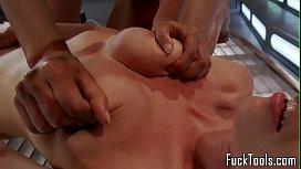 Toying lesbians spanking while...