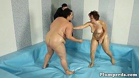 Massive titted bbw wrestles...
