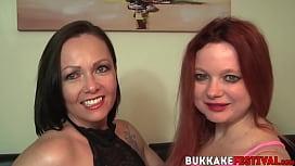 Naughty bukkake babes gangbanged by many big dicks