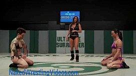 Strong lesbians wrestling oiled...