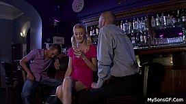 Blonde girl caught cheating...