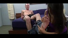 Latina licks feet...