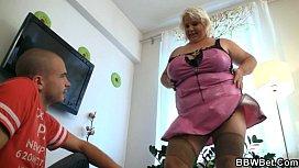 Huge blonde lady gets...