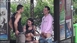 Pretty Girl With Big Tits PUBLIC Highway Gangbang Threesome