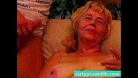 Granny titty fucks her...