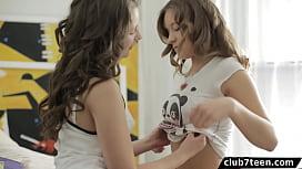 Teen schoolgirls threesome with...