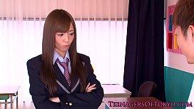 Japanese schoolgirl face sprayed...