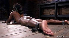 Shackled ebony babe hard whipped